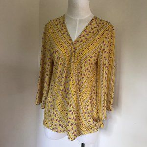 Anthropologie W5 Floral Cross Front Blouse